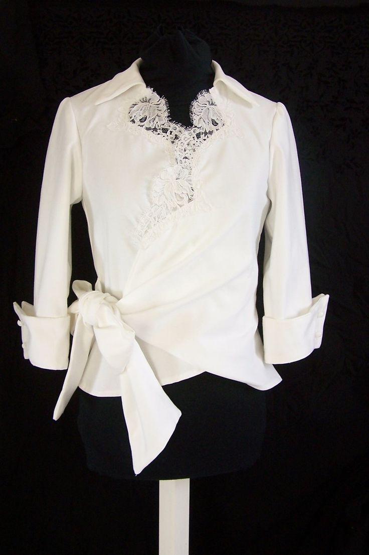 Chemisier cache-coeur blanc, dentelle de calais : Chemises, blouses par faith-cauvain