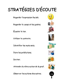 French Literacy Posters - Stratégies d'écoute