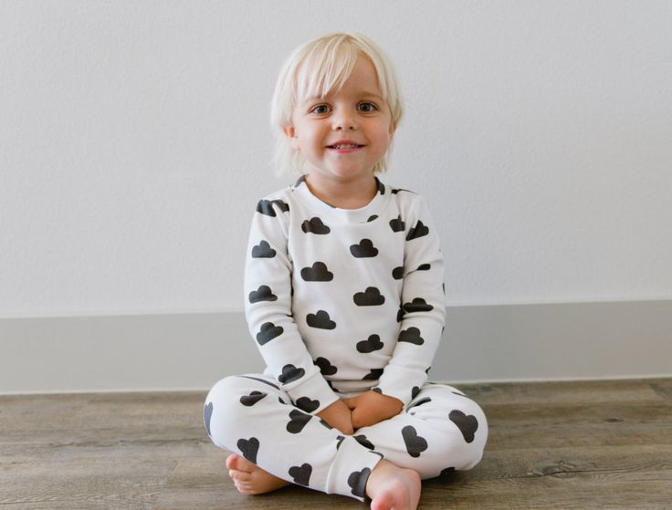 Toddler Pajama Set: Signature Hello Sunday Charcoal Cloud Organic Cotton Pajamas for Boy or Girl by ShopHelloSunday on Etsy https://www.etsy.com/listing/191296479/toddler-pajama-set-signature-hello