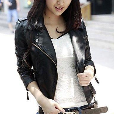 cuero de la motocicleta de la cremallera diagonal corta chaqueta de las mujeres – AUD $ 19.49