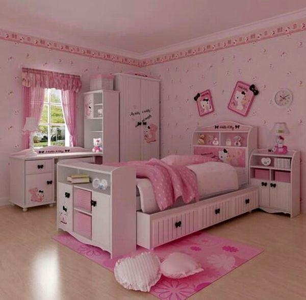 hello kitty room decor 25 Hello Kitty Bedroom Theme Designs