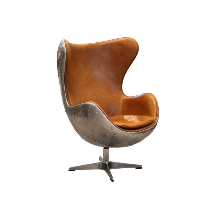Retro Aviator Egg Chair Vintage Retro Brown Leather Egg Armchair Egg Chair Chair Wing Chair