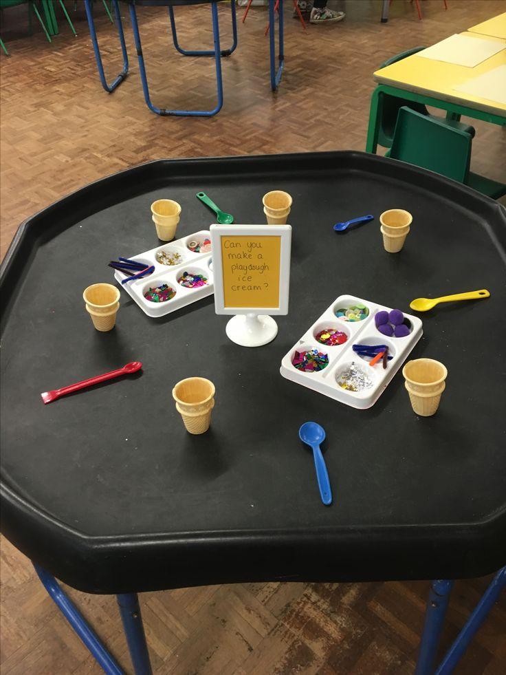 Creating ice creams - playdough table