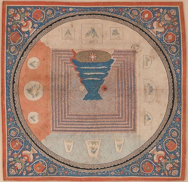 Cosmological Mandala with Mount Meru Date: 14th century Medium: Silk tapestry (kesi)