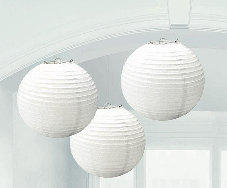 White Round Paper Lanterns (3) from BirthdayExpress.com