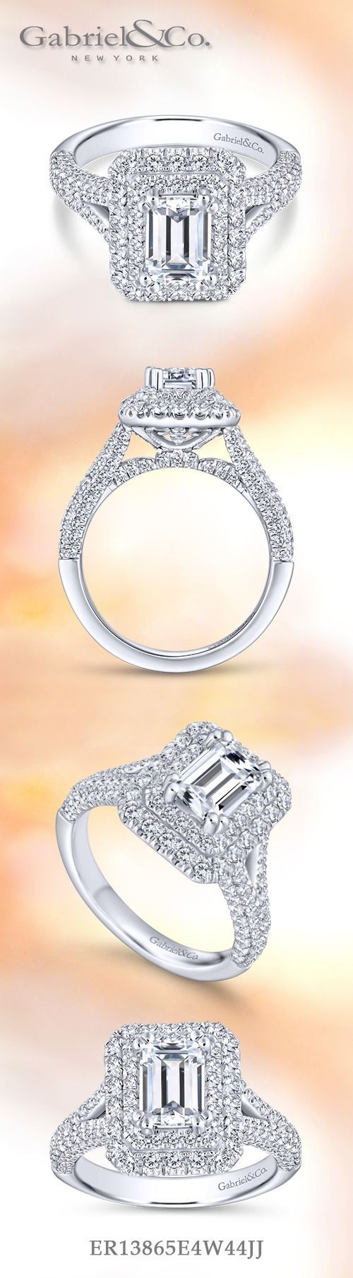 Gabriel & Co.-Voted #1 Most Preferred Fine Jewelry and Bridal Brand.  14k White Gold Emerald Cut Double Halo  Engagement Ring.