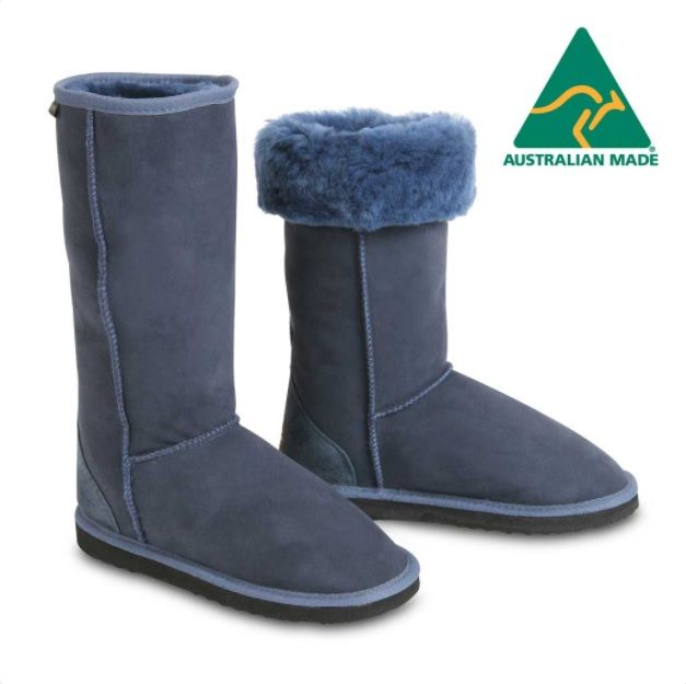 Classic Tall Sheepskin Boots in Navy