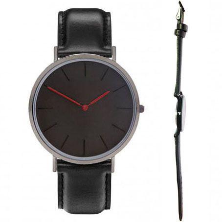 Zwart bands zwart horloge case. rode uur handen man en vrouwen classic horloge ontwerp geen marks relojes
