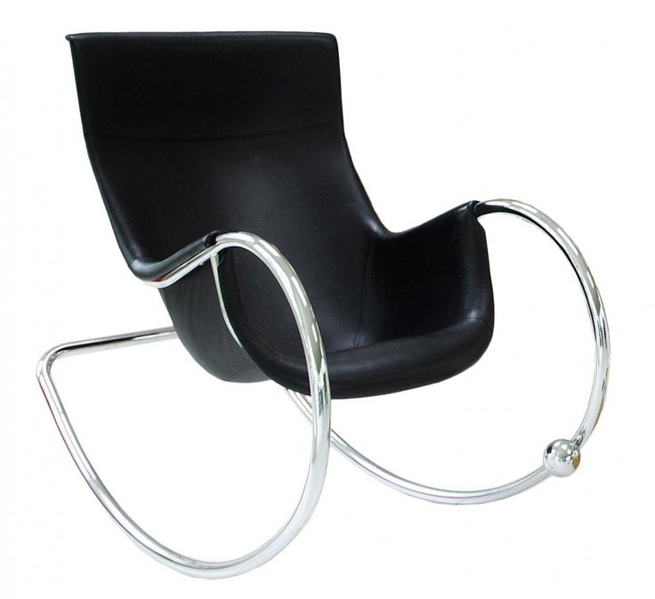 Furniture Comfortable and Charming Modern Rocking Chair: Modern Rocking Chair Black Keinu Designed By Eero Aarnio