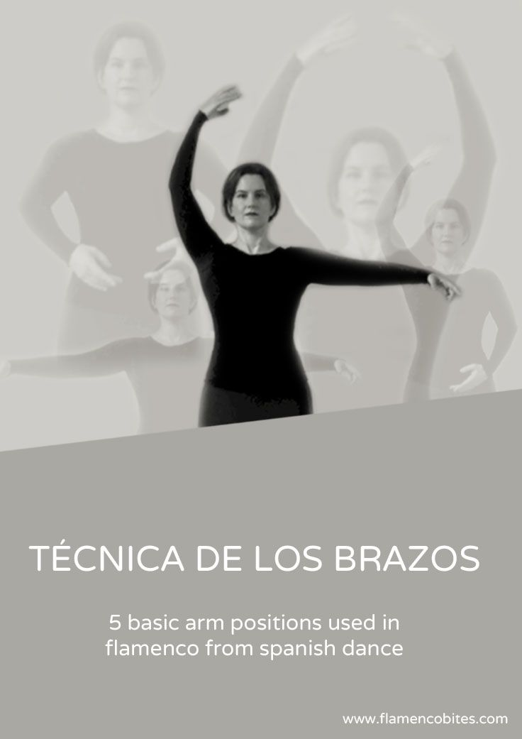 Flamenco makes use of many different arm positions mixed with variations in body alignment. There five basic positions for the arms which are based on the arm positions used in danza española (spanish dance). Click through to practice all 5 arm positions.