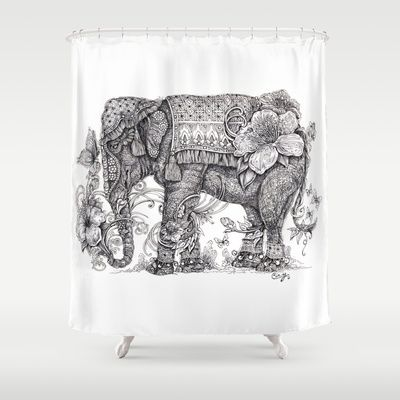 """Anesh the Creative Elephant"" Shower Curtain by Cindy Lysonski (Cicy) - $68.00"