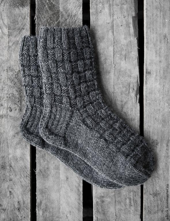 Купить Носки вязаные Chess - темно-серый, однотонный, носки, носки вязаные, носки мужские