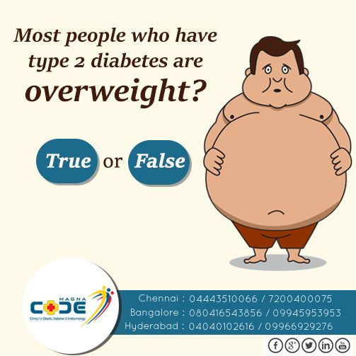 Let's test your knowledge on diabetes…. Most people who have type 2 diabetes are overweight? True or False