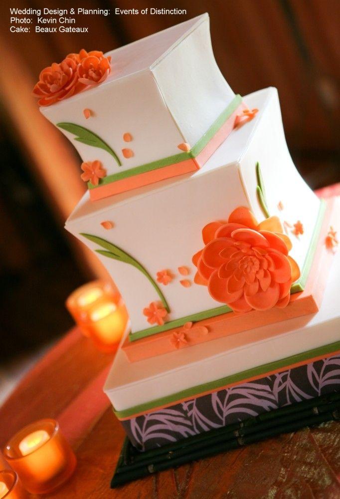Gorgeous.  Love the shape.  Orange Wedding Cake - Asian themed  http://www.eventsofdistinction.com