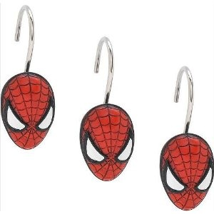 Although these are for the shower, they could easily be used on bedroom curtains or to make a hanging decoration. #FADSbagabed  Set of 12 the Amazing Spiderman Shower Curtain Hooks.