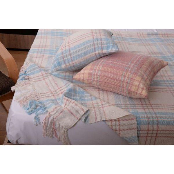 Set cuvertura cu doua fete de perna 11079 albastra - Cuverturi - Dormitor - Textile