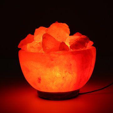 Crystal Himalayan Natural Salt Rock Night Light Tealight Air Purifying Table Lamp