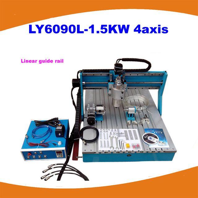 Лучший 4 оси мини фрезерный станок с чпу LY6090L-1.5KW Линейная Направляющая С ЧПУ Фрезерный Станок с чпу комплекты