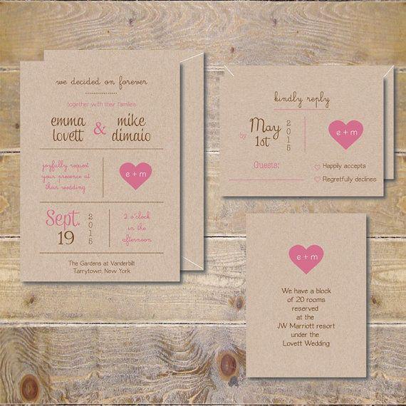 Heart Wedding Invitations, Recycled Wedding Invitations, Heart Wedding  Invitations, Country Wedding Invitations, Rustic Wedding Invitations