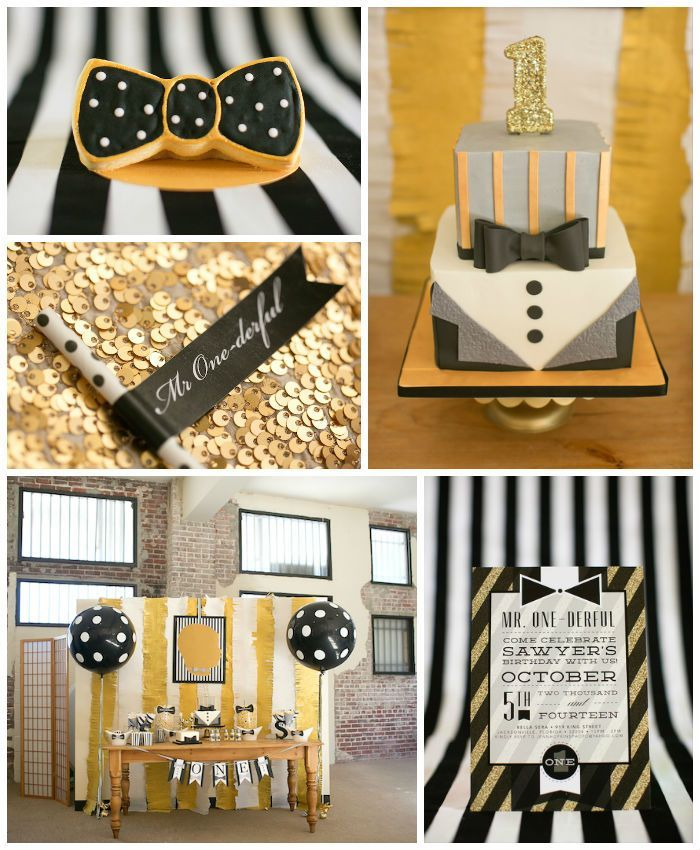 Mr. ONEderful Tuxedo Themed 1st Birthday Party via Kara's Party Ideas KarasPartyIdeas.com Party supplies, recipes, tutorials, printables, ca...