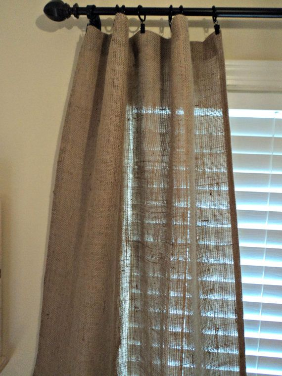 Set of Burlap Curtain Panels 84 French by theruffleddaisy on Etsy, $70.00