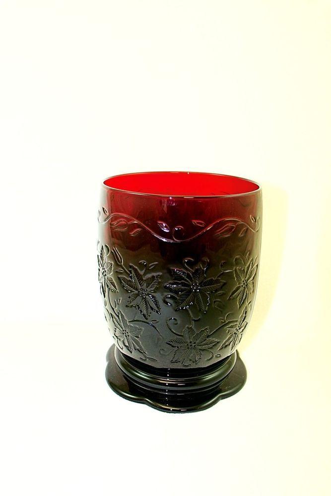 Princess House Fantasia Poinsettia Ruby Red Large Pillar Candle Holder/Vase #PrincessHouse