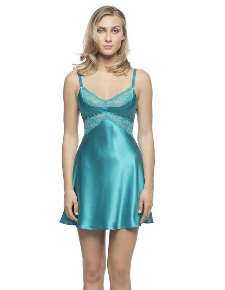 $190 Morgan Cradle Bust Chemise in Caribbean. Cradle silk chemise made to first please oneself!  Dare to share the benefits of our bias-cut silk charmeuse chemise with form-fitting stretch lace bust inset and well-placed silk cradle giving you that extra-oomph.