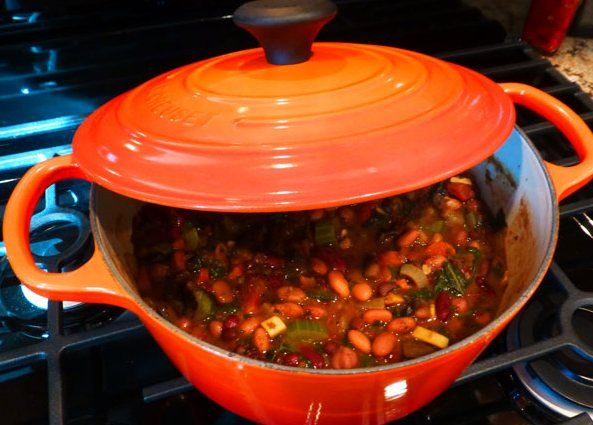Vegetable Chili with Cornbread Topping by Kenny Point for Le Creuset ...