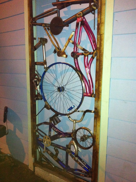 upcycled cycles make a security door