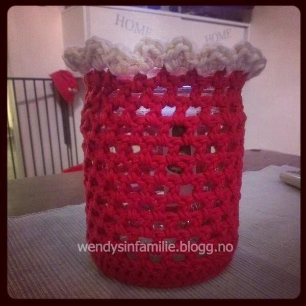 Crochet candle jar bag. Hekle telyspose til norgesglass/syltetøyglass