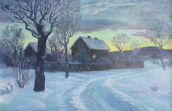 Otto Hennig (1871-1920): Kald vinteraften, 1900