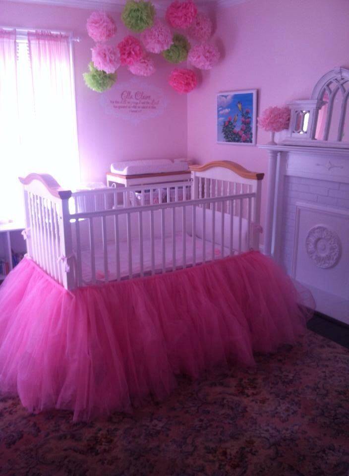 I actually prefer this to a skirt...doesn't have as many gaps it I wonder how it's done Tutu crib skirt in a vintage baby girl nursery
