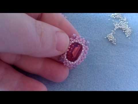 come incastonare un rettangolo 13x18 con perline 11/0 preciosa - RAW - YouTube