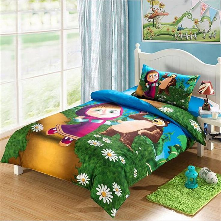 Masha and Bear Kids Bedding Set Pure Cotton Duvet Cover