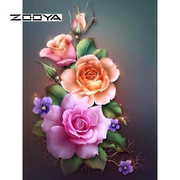 5D Diamond Painting Peach and Pink Roses Kit