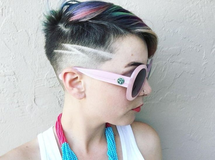 Awesome. Colorful, extreme asymmetrical hair. | Haircut, headshave and bald fetish blog
