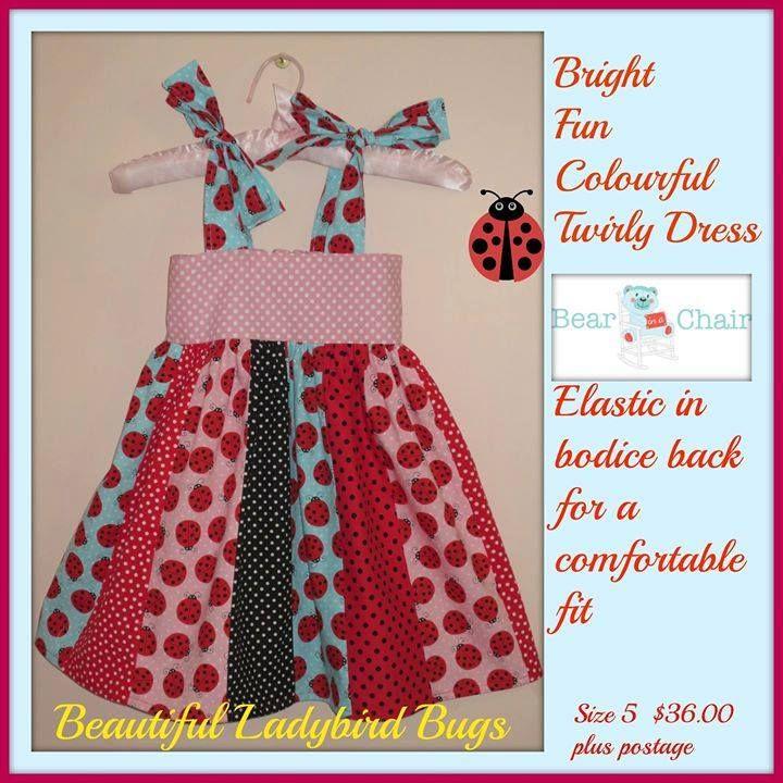 Handmade By @Bear In A Chai Bright Fun Colourful Twirly Dress