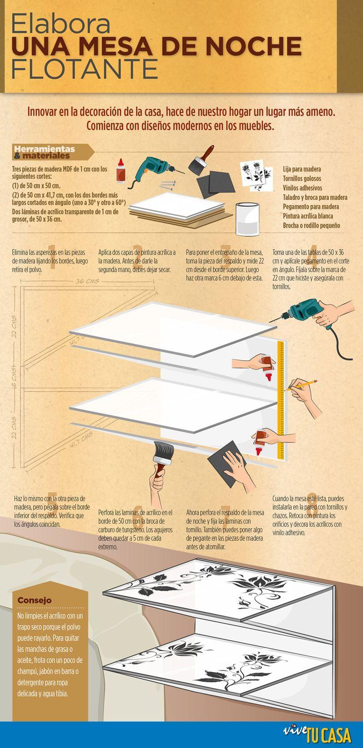 Arma una mesa de noche flotante innovar en la decoraci n for Diseno de mesas de noche