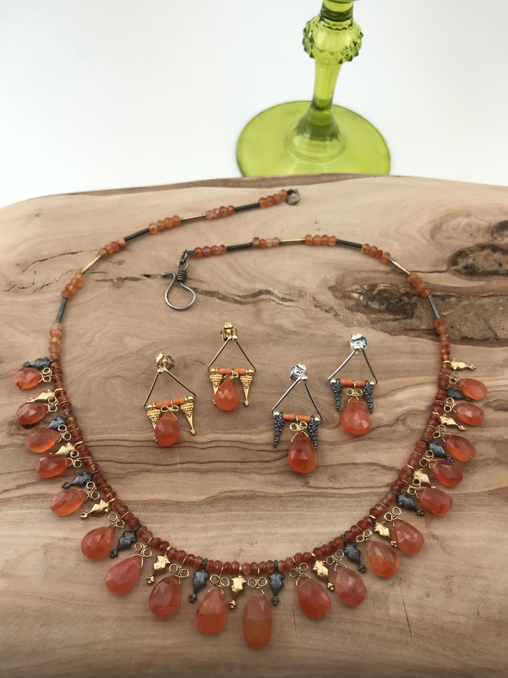 Necklace and Earrings  silver&goldplated with agatha stones