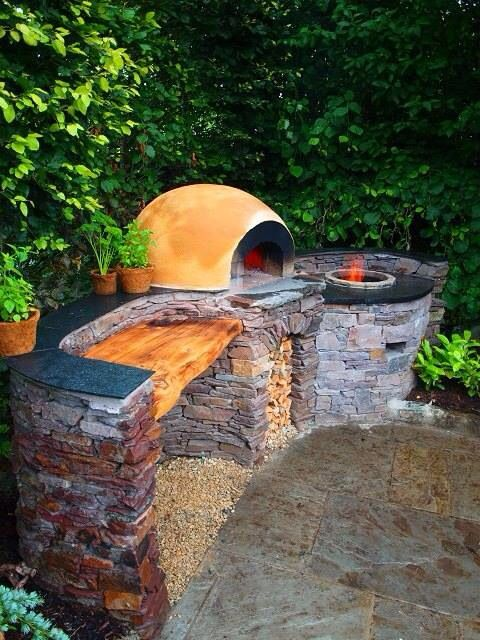 outdoor adobe oven, but turn it around so you're facing outward while working