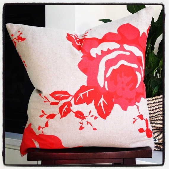 Large Cushion  Rough Rose Scarlet 55x55cm with by littlebcushions, $70.00