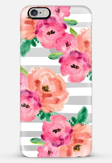 flowers and stripes- transparent iPhone 6 Plus case by Sylvia Cook   Casetify…