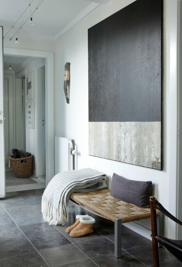 Dark gray floor hallway Modern art