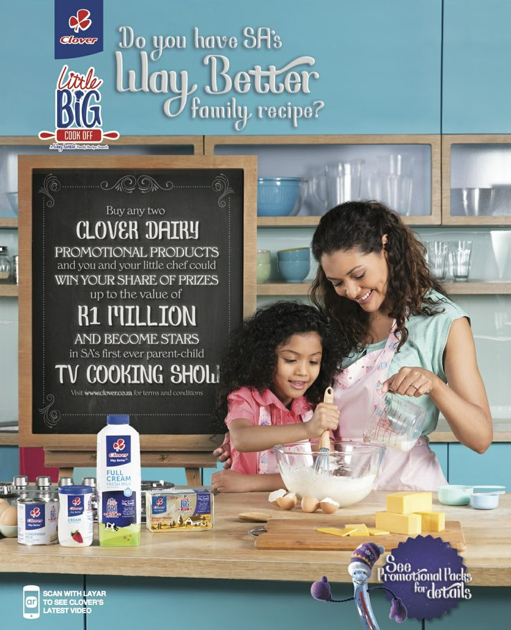 Clover South Africa and Caxton Magazines joined forces to collaborate in producing a @Layar Interactive Print campaign across four  magazine titles spanning four months.   The objective of the campaign is to create awareness of Clover's Little Big Cook Off Competition. This 13 week TV series will start 10th of May 2014 on SABC 3 at 6pm.
