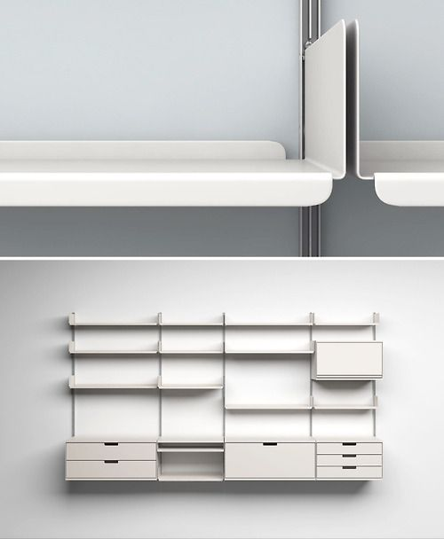 """606 universal shelving system by dieter rams. rams' ten principles of """"good design"""" - is innovative, makes a product useful, is aesthetic, makes a product understandable, is unobtrusive, is honest, is long-lasting, is thorough down to the last detail, is environmentally friendly, is as little design as possible."""