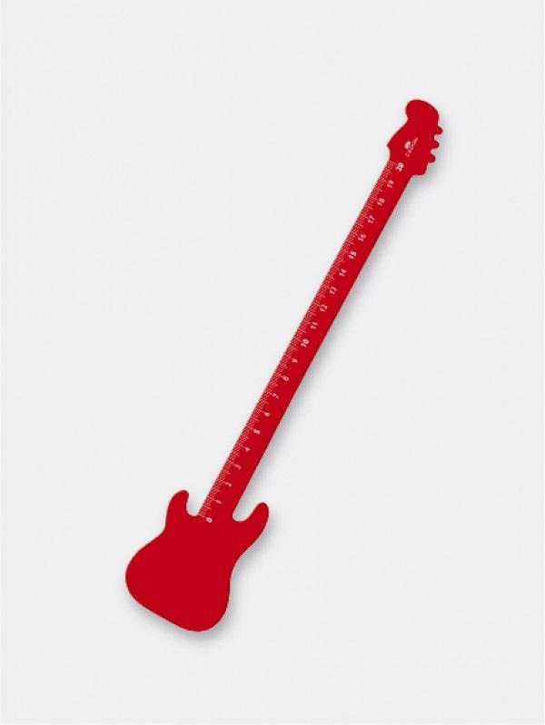 Liniaal Cedon S - Gitaar Rood.  Onderstrepen met een gitaar? Wie zegt dat linialen niet mooi en grappig kunnen zijn? Deze eye-catcher vrolijkt je bureau direct op! Lengte 20 cm.