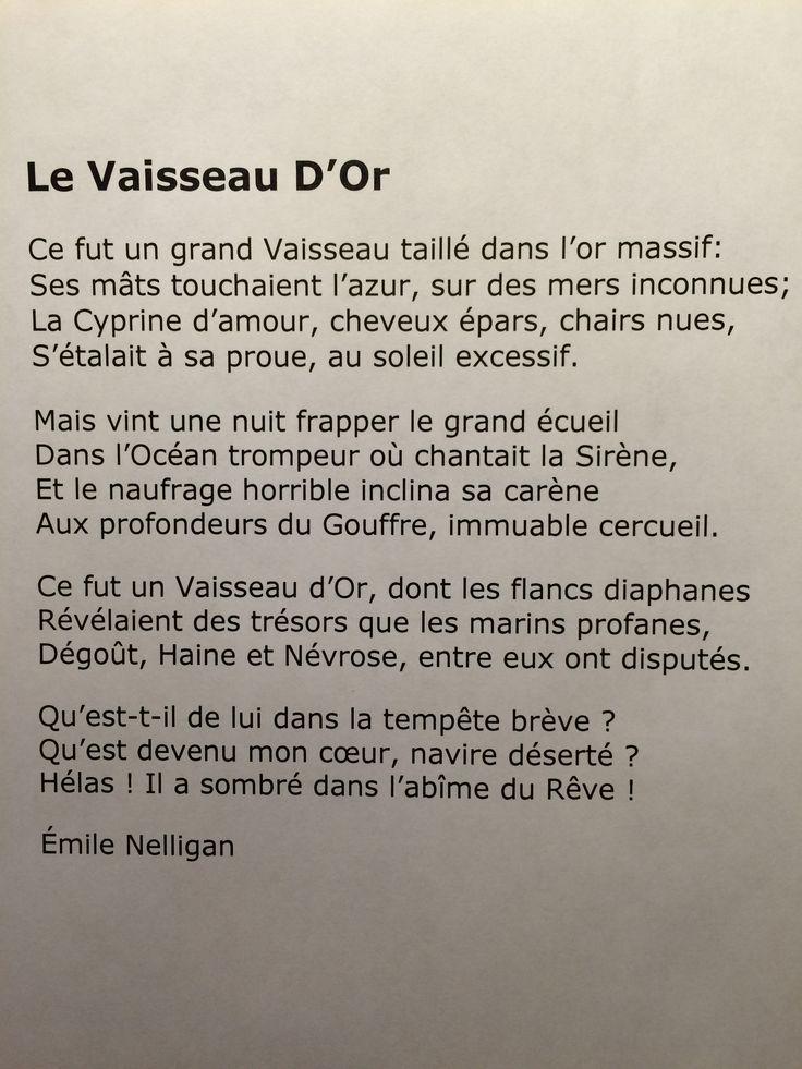 Emile Nelligan - le Vaisseau d'Or