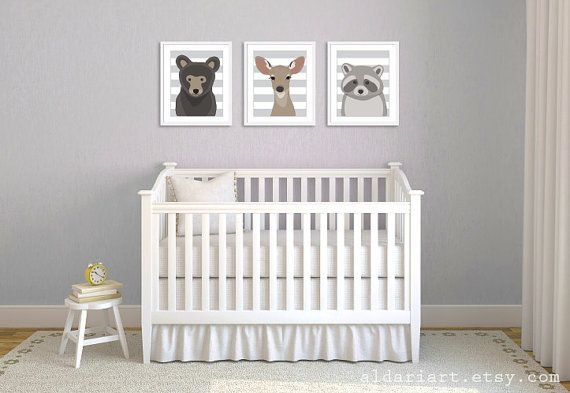 Woodland Animals Nursery Wall Art - Bear Deer Racoon Art Prints - Baby Children Art - Grey Neutral Decor on Etsy, $30.00
