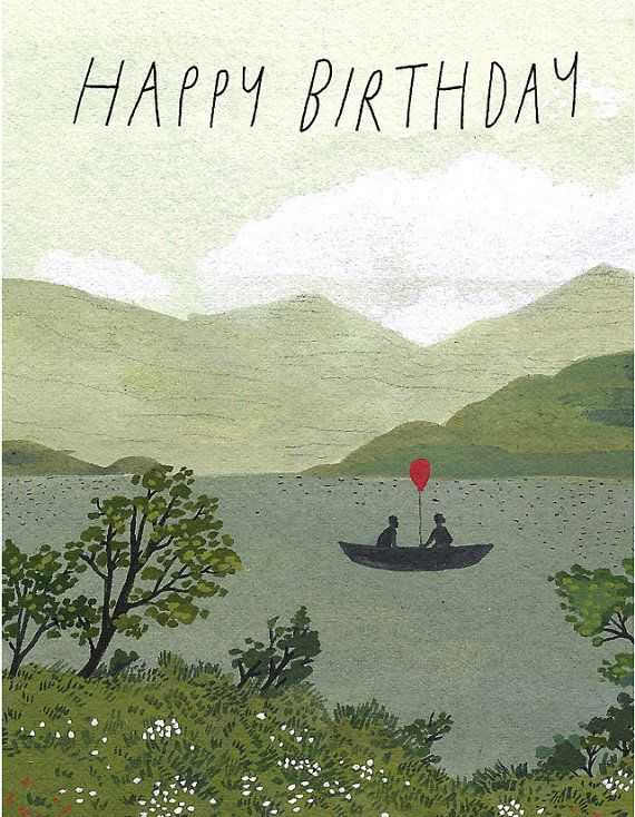 canoe birthday card by beccastadtlander on Etsy