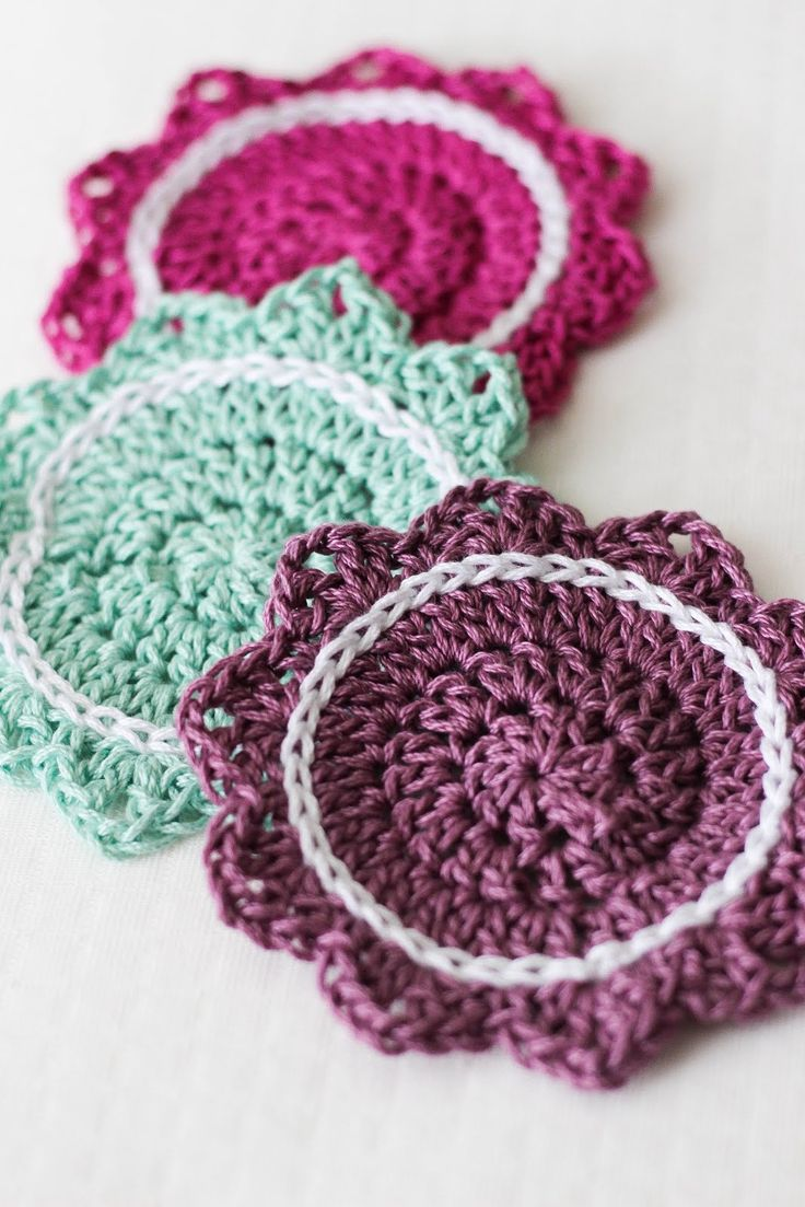 These beautiful coasters are part of Sewrella's kitchen series, inspired by her great-grandmother. Make them with Lion Brand 24/7 Cotton!